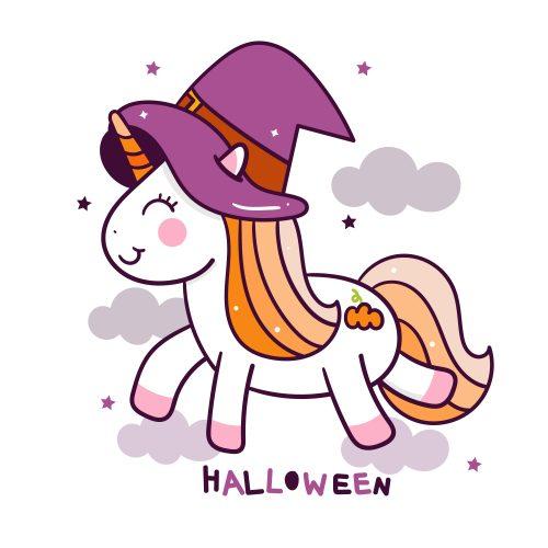 dibujo de unicornio kawaii halloween