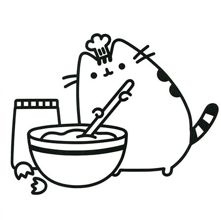 gatos kawaii para colorear