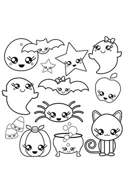 dibujos kawaii para colorear de fantasmas