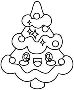 dibujo de arbol de navidad kawaii